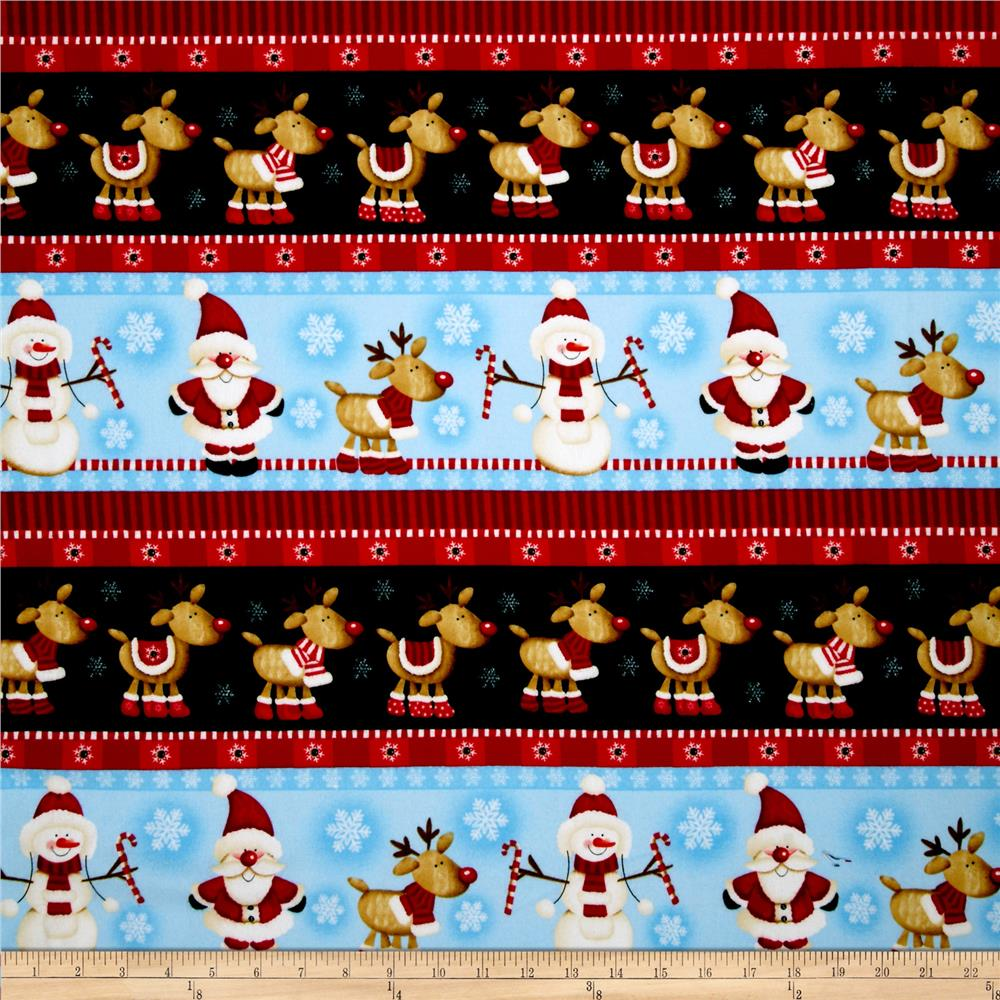 Timeless Treasures Christmas Flannels Winter Reindeer Border Multi