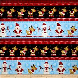 Timeless Treasures Holiday Flannels Winter Reindeer Border Stripe
