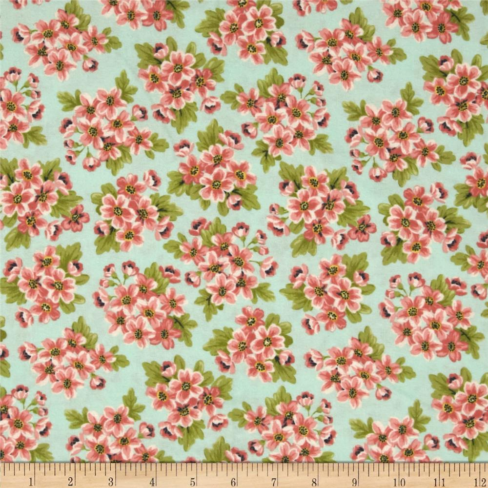 Dover Flannel Packed Floral Aqua Fabric