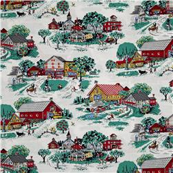 Kaufman Morningside Farm Toile Vintage