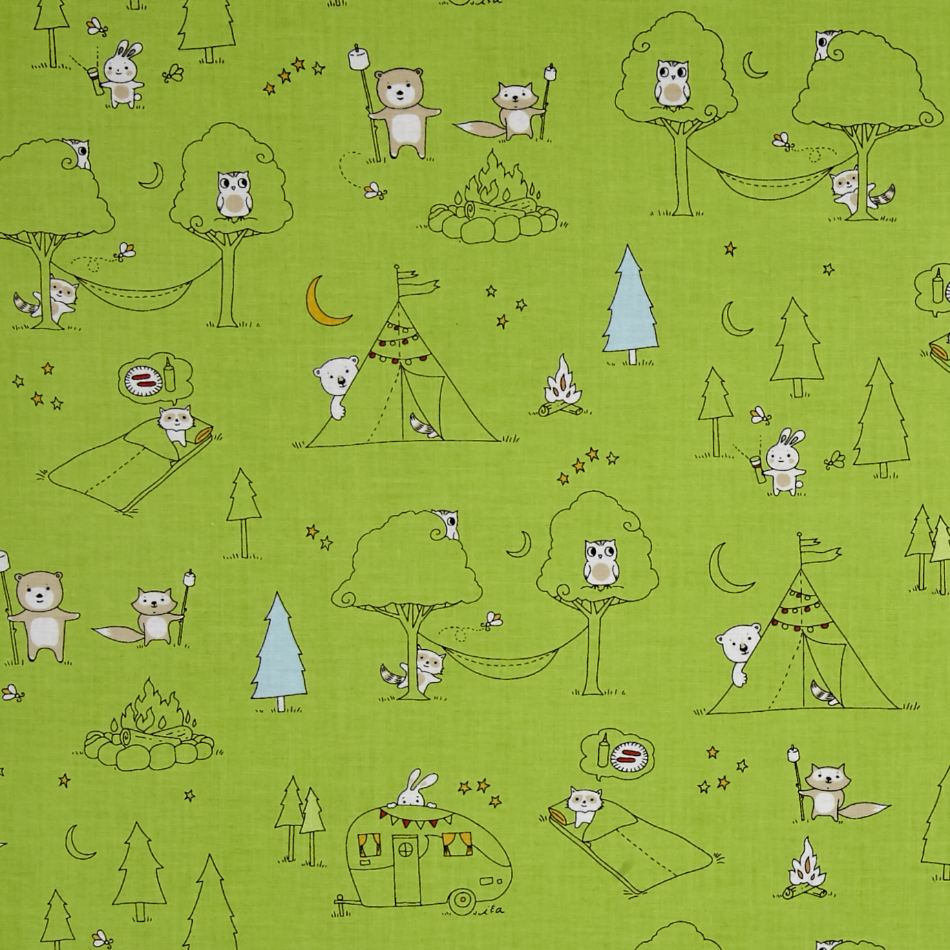 Image of Ink & Arrow Camp S'more Animal Camp Scenic Green Fabric