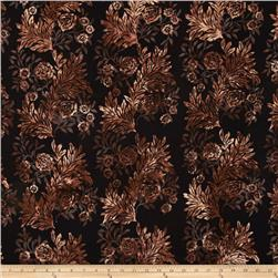 Bali Batiks Handpaints Flower & Leaf Brown