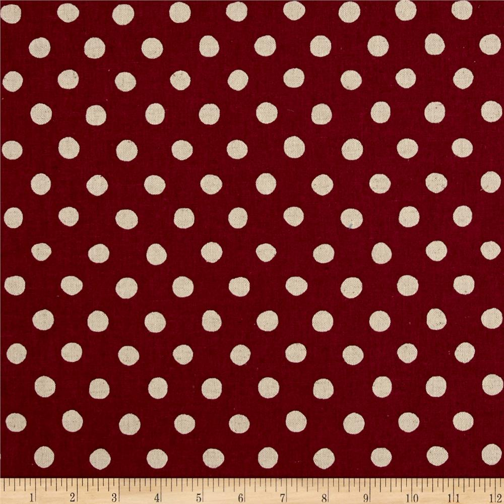 Kaufman Sevenberry Canvas Natural Dots Large Fuchsia