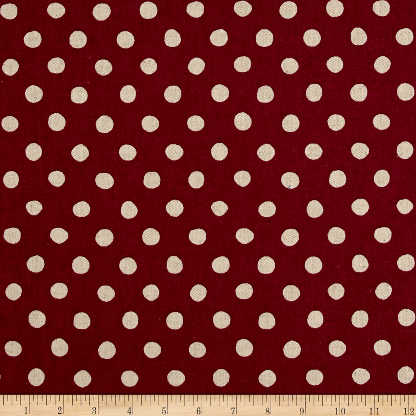 Kaufman Sevenberry Canvas Natural Dots Large Fuchsia Fabric by Kaufman in USA