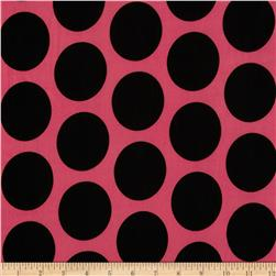 Stretch ITY Jersey Knit Large Dot Coral/Black