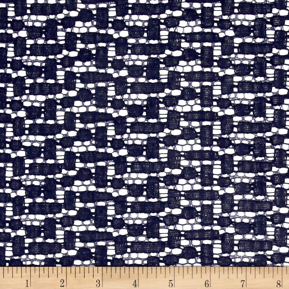 Crochet Lace Navy Fabric By The Yard