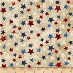 Stonehenge Stars & Stripes II Tossed Stars Tan/Multi