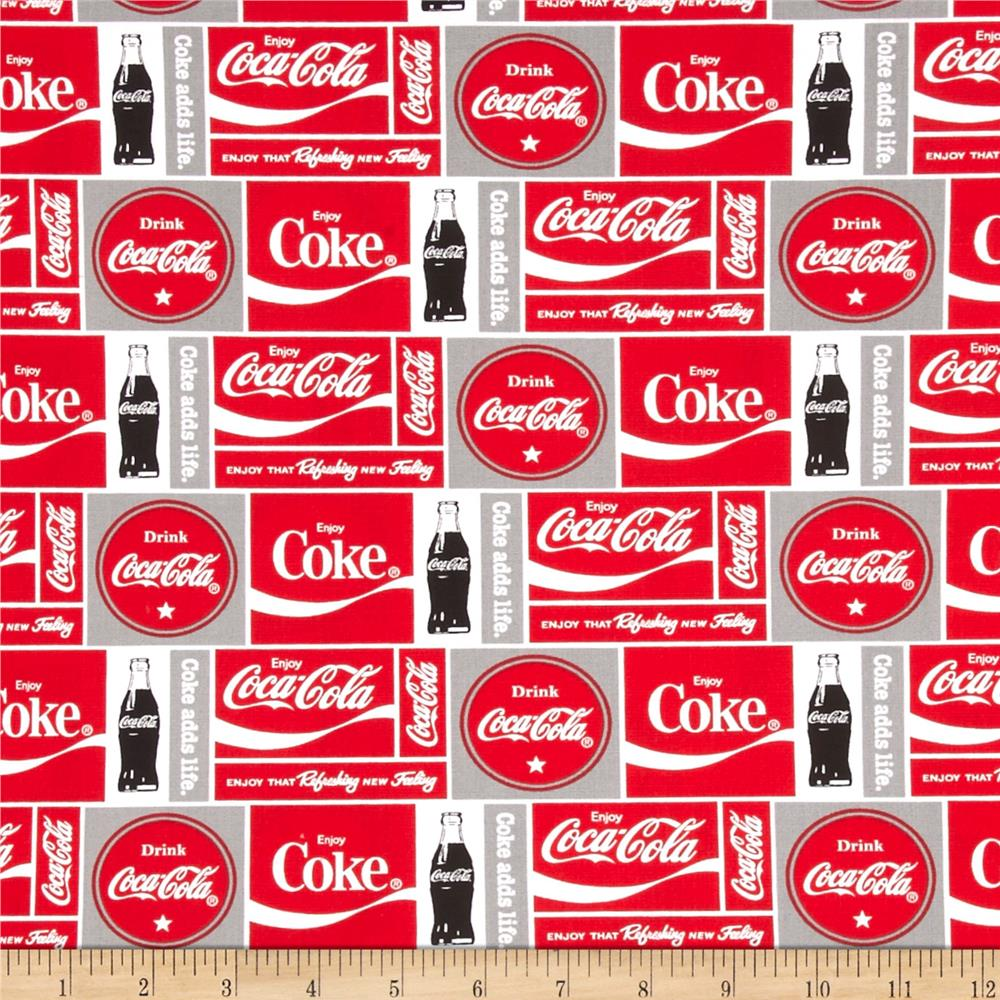 Coca Cola Bottle Blocks Allover Grey/Red