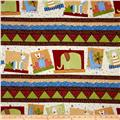 Jungle Buddies Border Stripe Animals Multi