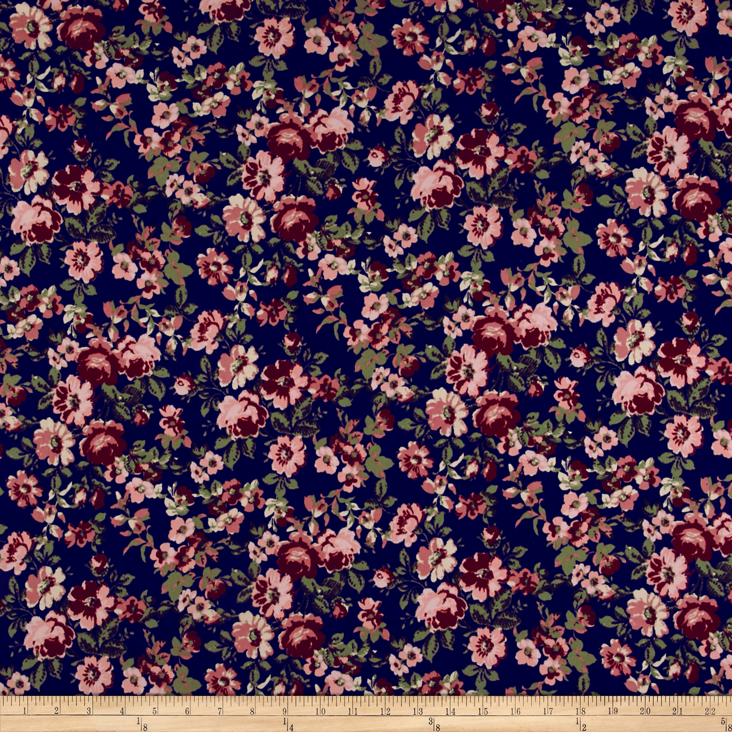 Double Brushed Poly Spandex Jersey Knit In Bloom Navy/Mauve Fabric 0538582