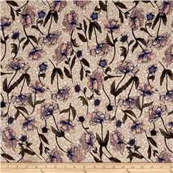 Rayon Challis Flourish Flowers Tan
