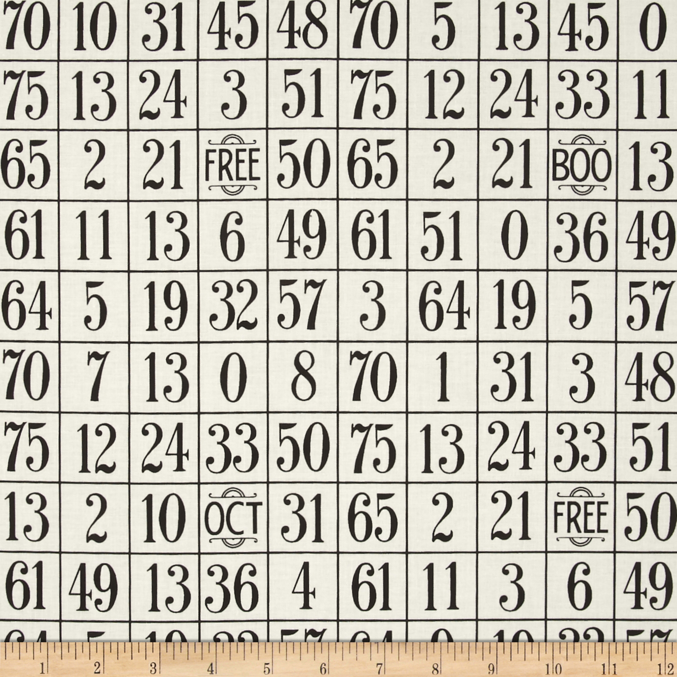 Sew Scary Number Grid Ecru Fabric by Quilting Treasures in USA