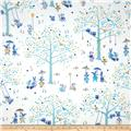 Nap Time Flannel Nursery Toile Blue