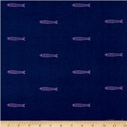 Cotton + Steel From Porto With Love Lawn Fishies Navy