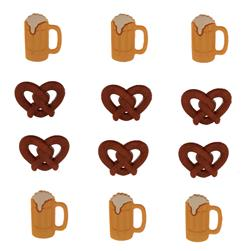 Dress It Up Embellisment Buttons  Pretzels Beer