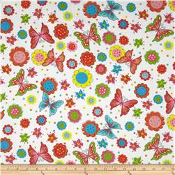 Fabri-Quilt Cuddle Flannel Butterflies and Flowers White Fabric