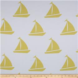 RCA Blackout Drapery Fabric Sailboats Gold