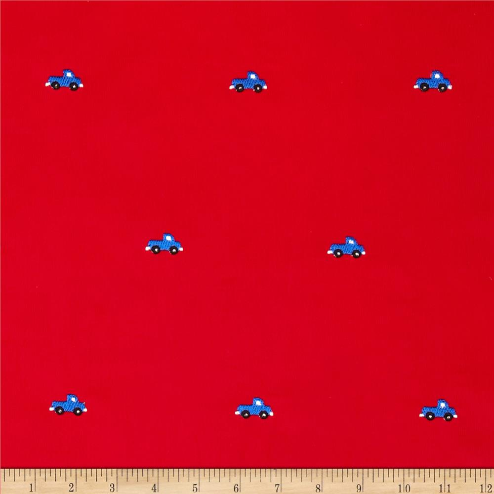 Embroidered 21 Wale Corduroy Truck Red/Blue
