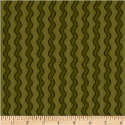 Pumpkin Party Flannel Stitched Stripe Green
