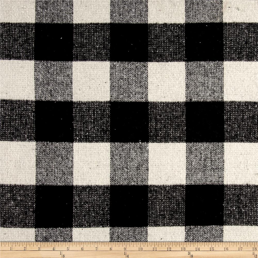 Brushed wool blend coating buffalo check black discount for Black fabric
