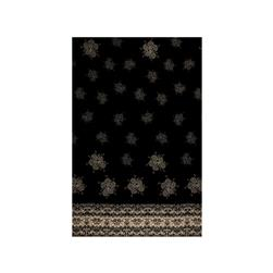 Crepe Georgette Dandelion Double Border Black