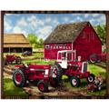 Fleece Farmall Panel Tractor And Barn Red