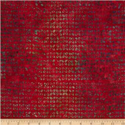 Moda Woodland Summer Batiks Patterned Buds Cherry