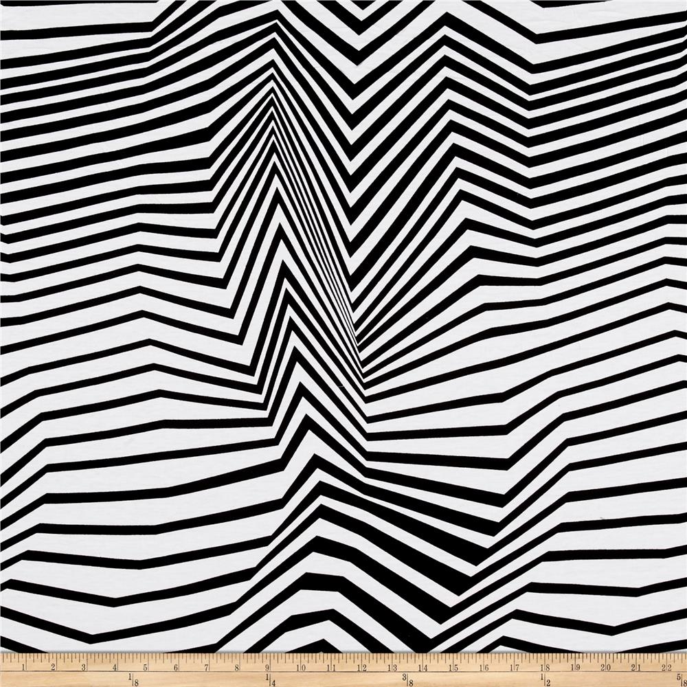 Venezia Spun Poly Jersey Knit Stripe Black/White Fabric
