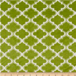 Minky Moroccan Tile Apple Green Fabric