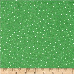 Moda Red Dot Green Dash Brushed Cottons Flurries Evergreen