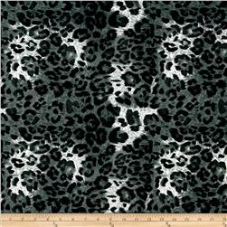 Swim Stretch ITY Jersey Knit Leopard Grey/Black Fabric