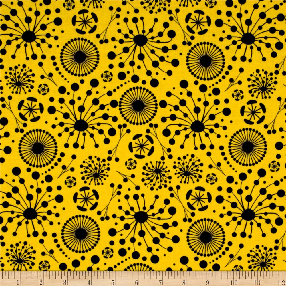 Ink Blossom Dot Blooms Yellow