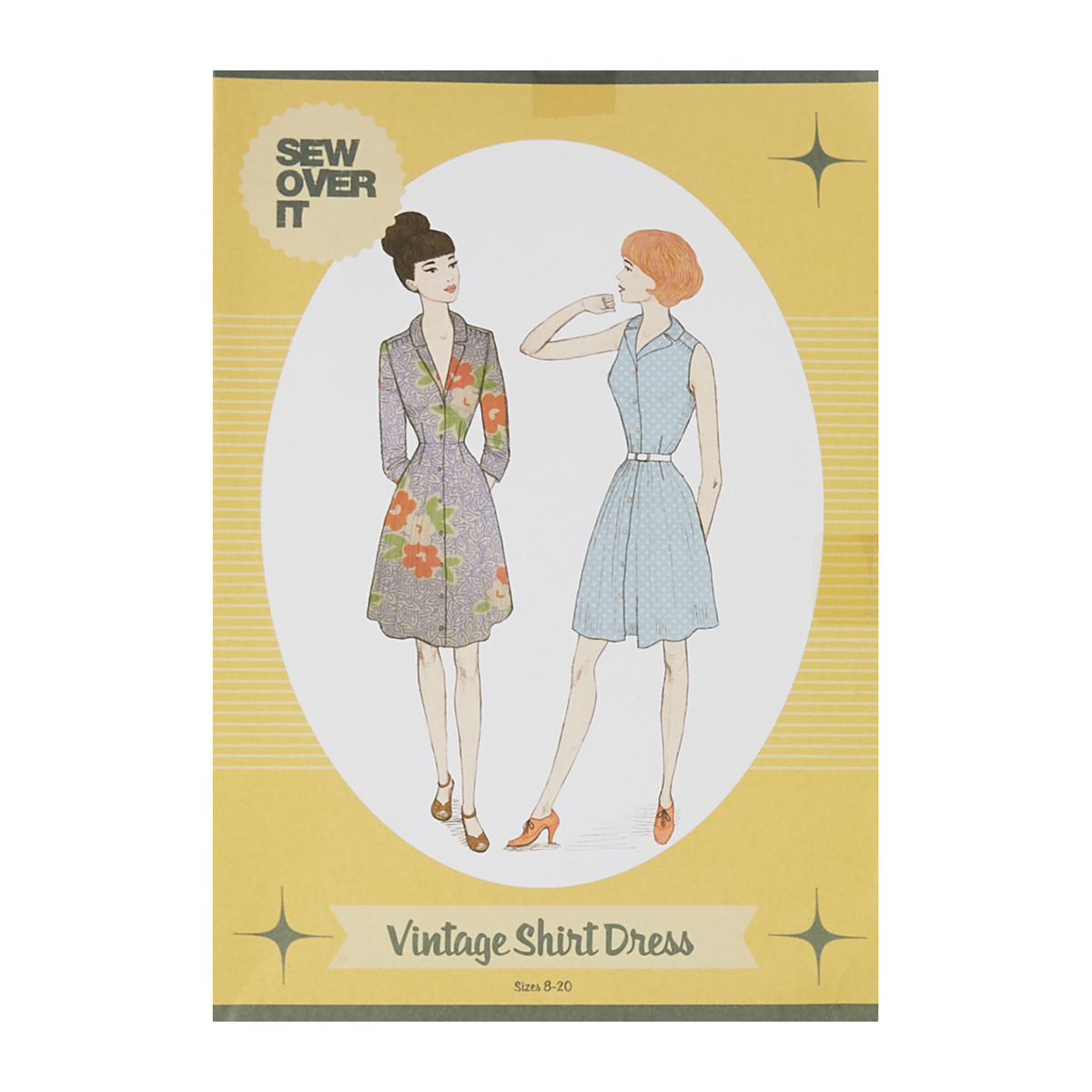 1950s Sewing Patterns | Swing and Wiggle Dresses, Skirts Sew Over It Vintage Shirt Dress Pattern $20.00 AT vintagedancer.com