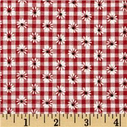 Woven 1/8'' Daisy Gingham Red Fabric