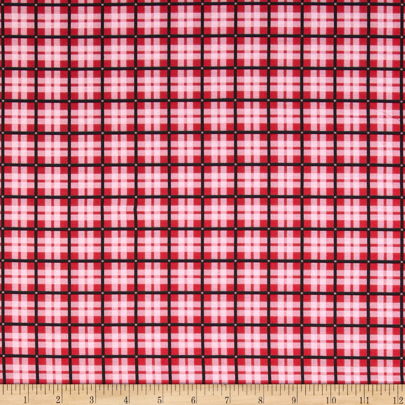 Spotlight Plaid Red Fabric by Santee in USA