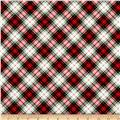 Timeless Treasures Oxford Flannel Bias Tartan Plaid Red