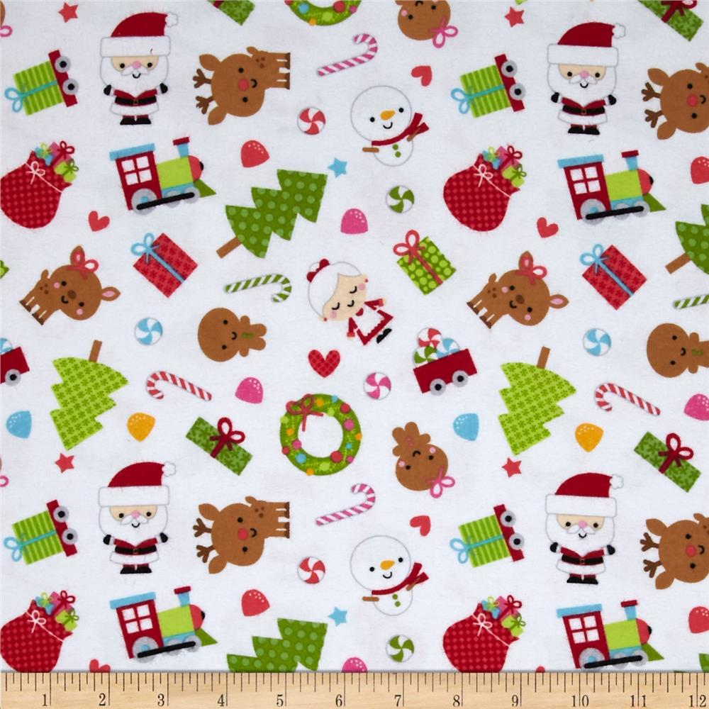 Riley Blake Santa Express Flannel Main White
