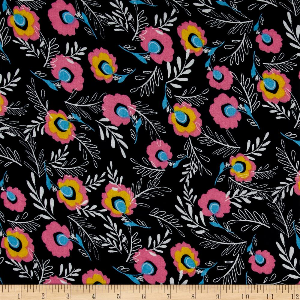 Simple floral rayon crepe print navy pink discount for Where to order fabric