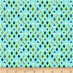 Tula Pink Slow & Steady Track Flags Blue Raspberry