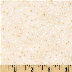 Woodsy Winter Metallic Snow Dots Natural/Gold Fabric