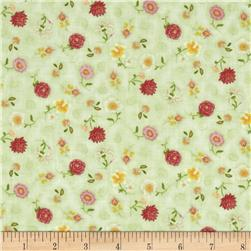 Victorian Elegance Small Tossed Flowers Green