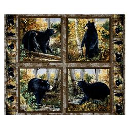 Basic Black Bear Pillow 36 In. Panel Multi