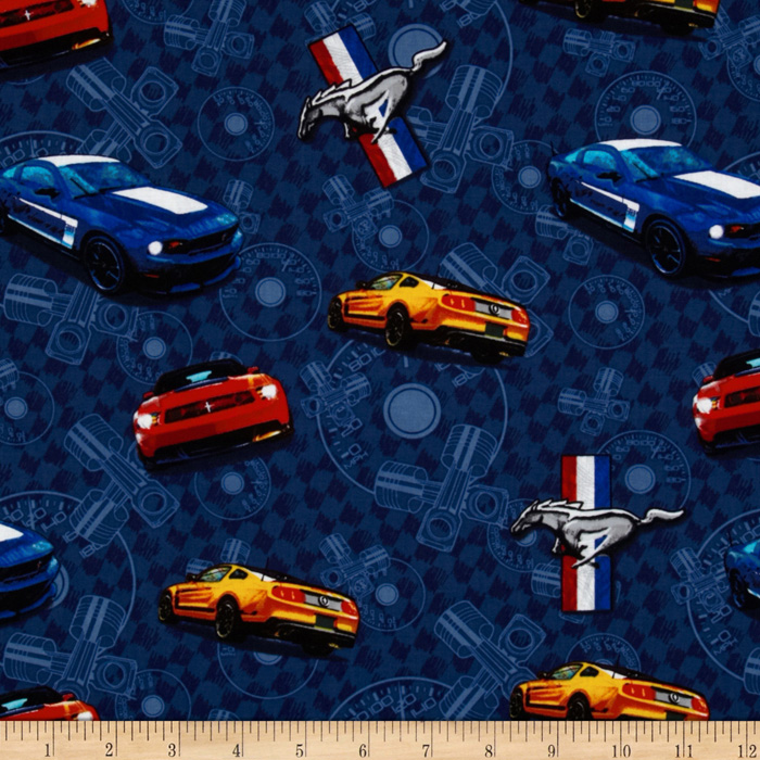 Ford Mustang Allover Dark Blue Fabric