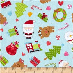 Riley Blake Santa Express Flannel Main Blue