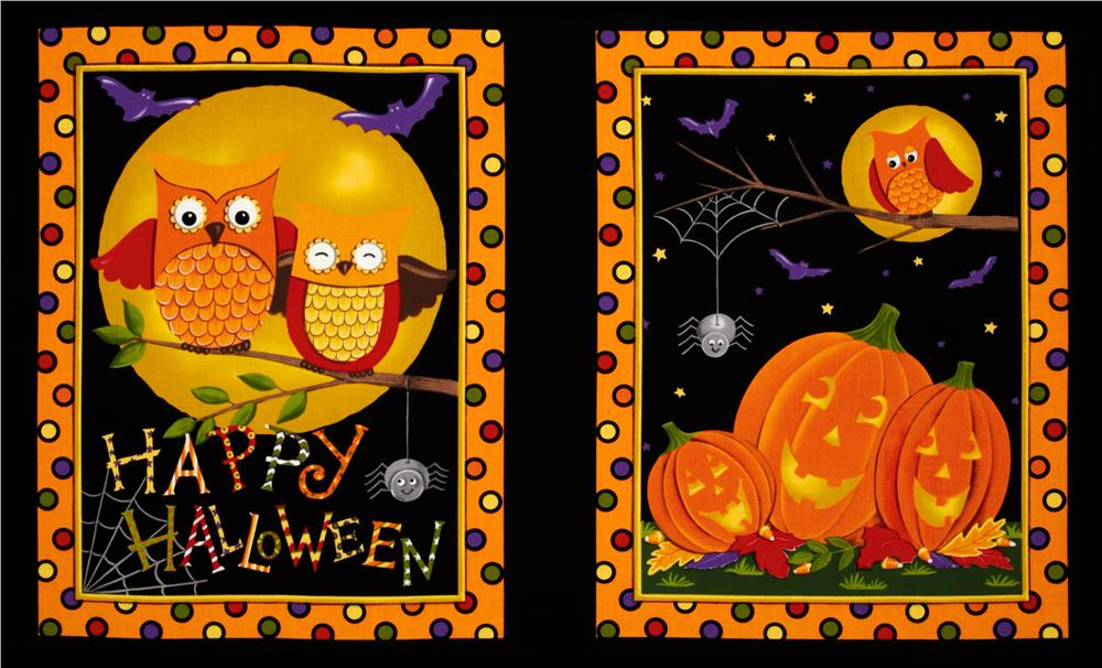 "Moda Happy H""owl""o-ween Quilt Panel Black"