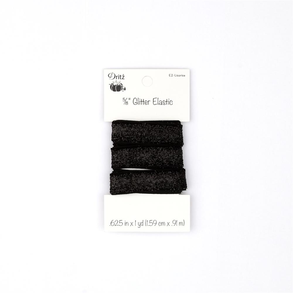"Glitter Elastic 5/8"" X 1 yd Licorice"
