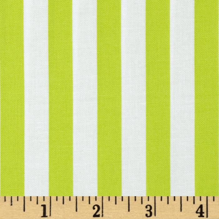 Moda Moxi Saavy Stripes Marshmallow-Acid Green
