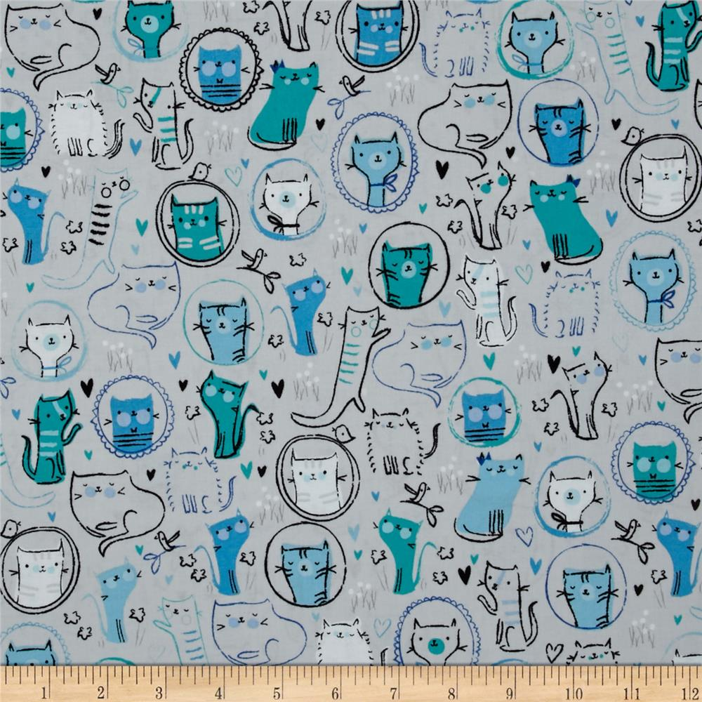 Kaufman Whiskers & Tails Crazy Cats Grey