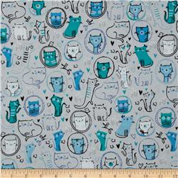 Robert Kaufman Whiskers & Tails Crazy Cats Grey