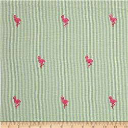 Embroidered Seersucker Flamingos Lime